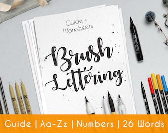 Learn brush lettering with a complete practice guide worksheet for beginners. Printable file I Bouncing B1