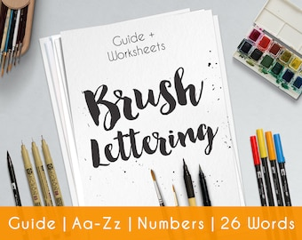 Learn brush lettering with a complete practice guide worksheet for beginners. Printable file   Style B10