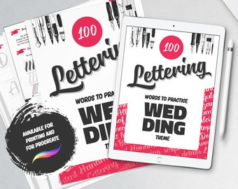 100 lettering words. Complete instruction guide and step by step to practice calligraphy wedding theme and extra bonus. Printable worksheets