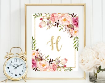 Custom name monogram printable, initial letter, monogram print, floral watercolor print, nursery wall art, gold monogram, custom letter art