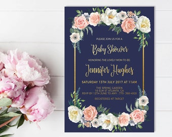 Baby Shower Invitation Template, Navy Baby Shower Invite Printable, Shabby Chic Floral Baby Invite, Watercolor Floral Shower Invitation