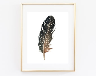 Black Feather Print Printable Feather Poster Boho Feather Print Tribal Wall Art Single Feather Print Watercolor Feather Art Boho Home Decor