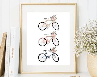 Floral Bicycle Printable Art Print Bicycle Poster Bike Wall Art Bike Print Bike Poster Bicycles Art Print Travel Printable Home Decor