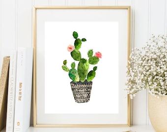 Cactus printable, Botanical poster, Cactus decor, 8x10, Cactus art, Succulent Print, Botanical print, Cactus wall art, Cactus printable art