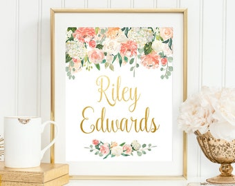 Personalized Baby Name Baby Girl Name Custom Name Printable Gold Name Print Coral Peach Nursery Gold Foil Print Nursery Name Print Baby Gift