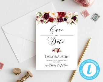marsala save the date card floral save the date diy printable rustic wedding save the date template editable wedding template printable
