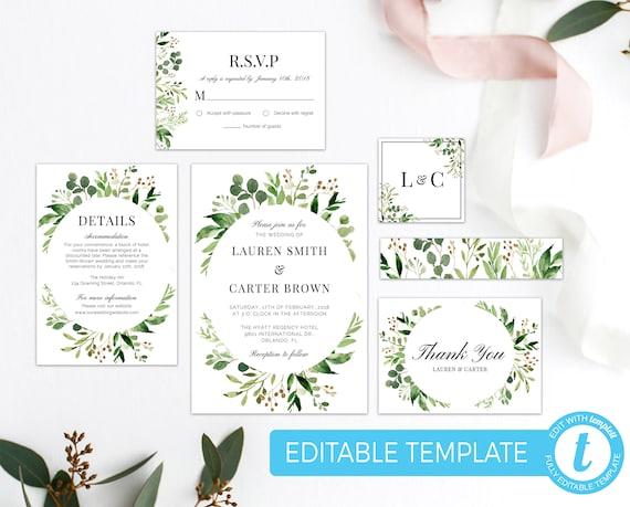 Green Leaves Wedding Invitation Bundle Greenery Wedding Invite Etsy