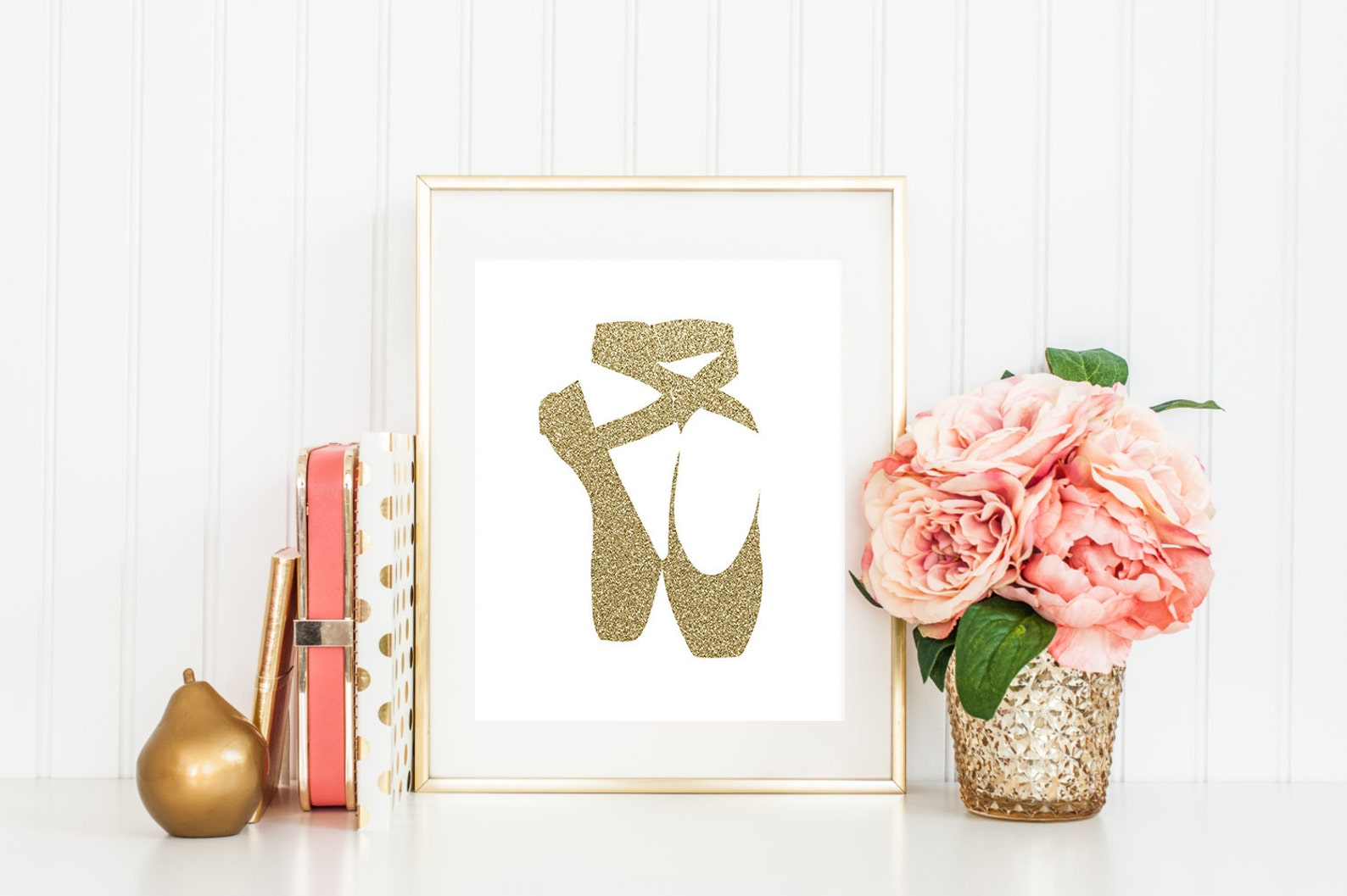 ballet shoes print, gold glitter, ballet shoes printable, girl room wall art, baby girl nursery print, ballet wall art, girl roo