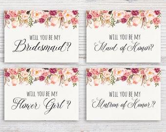 Will You Be My Invite Printable Bridesmaid Invitation Will You Be My Bridesmaid Maid of Honor Flower Girl Matron of Honor Bridal Proposal