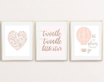 Girl Nursery print set oh the places you will go twinkle twinkle blush nursery wall art baby girl nursery printable, set of 3 pink print