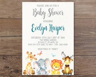 Woodland Baby Shower Invitation, Forest Animals Invitation, Rustic Invite, Gender Neutral Invitation, Cute Animals Baby Shower Invite