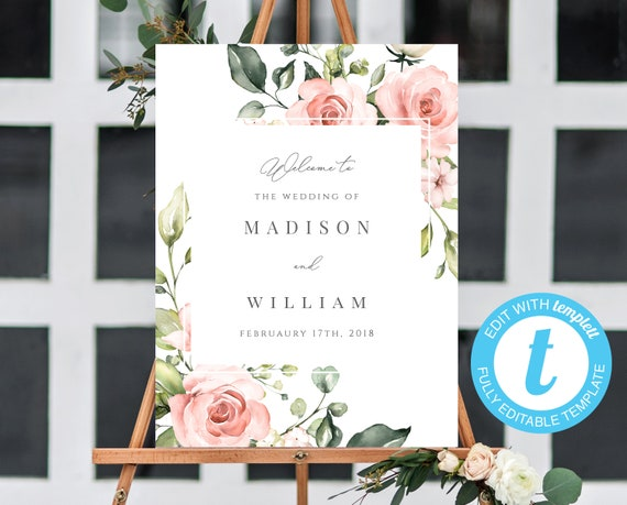 Blush Welcome Sign Template Editable Welcome Sign Printable Wedding Welcome Floral Welcome Template Editable Template Blush Wedding Templett