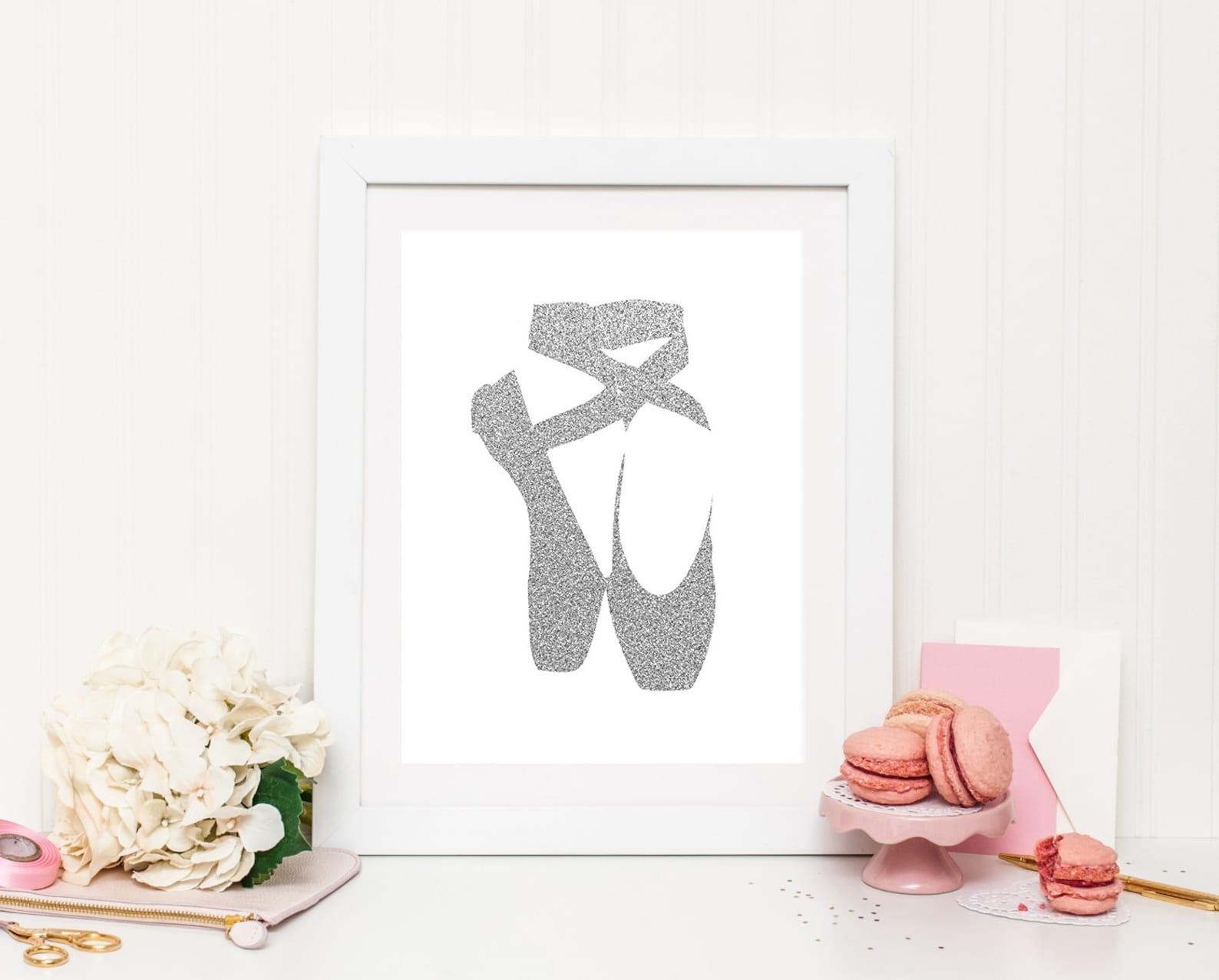 girl room wall art, ballet shoes printable, ballet wall art, silver glitter, ballet dancer print, dancer print, baby girl nurser