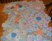 farmhouse, primitive, rustic, prairie, antique, vintage, fifteen (15) handmade quilt top flowers for crafting and sewing