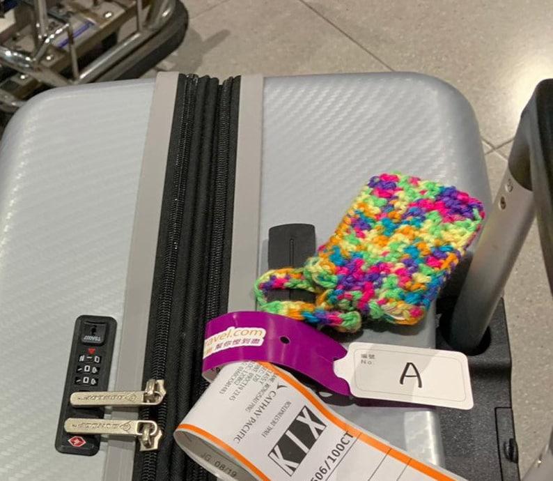 duffel bag tag overnight bag tag business card tag baggage tag wedding favor travel accessory Construction blaze orange luggage tag