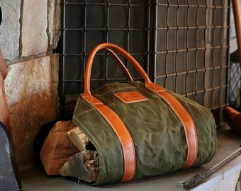Leather & Waxed Canvas Log Carrier