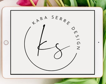 Custom Pre-made Circle Logo   Handwritten Script   Simple and Minimalist   Business Brand Package   Marketing Materials   SVG and PNG