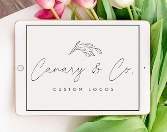 Custom Pre-made Leaves Logo   Handwritten Script   Simple and Minimalist   Business Brand Package   Marketing Materials   SVG and PNG