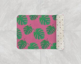 450522b6359 Monstera Tropical Leaf Bath Mat | Pink and Green Fuzzy Bathroom Rug, Beach  Decor, Memory Foam Bath Rug 17x24, 21x34