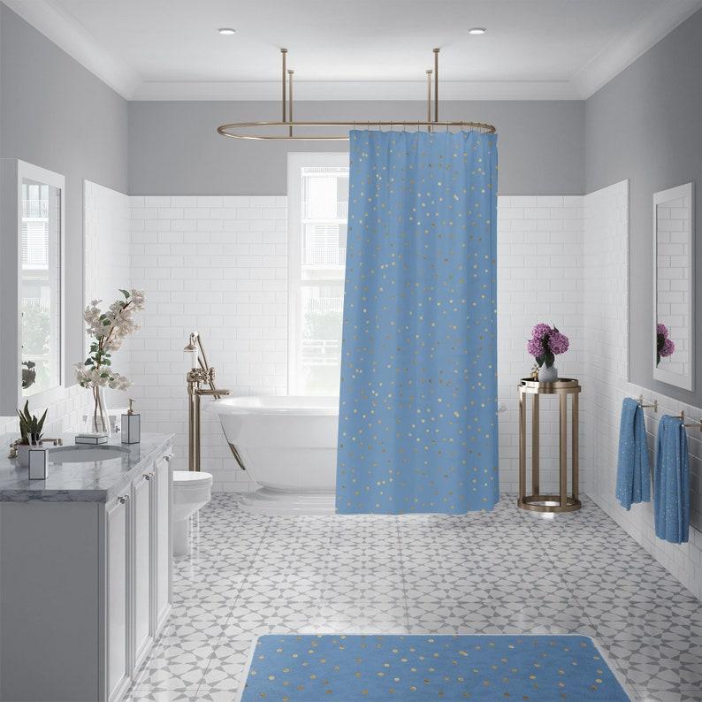 Cool Blue Gold Confetti Bathroom Decor Set Long Shower Curtain Blue Bath Towel Bath Mat Complete Bathroom Set Download Free Architecture Designs Scobabritishbridgeorg