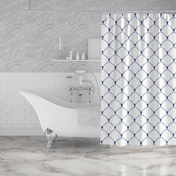 Royle Dark blue Fabric Shower Curtain