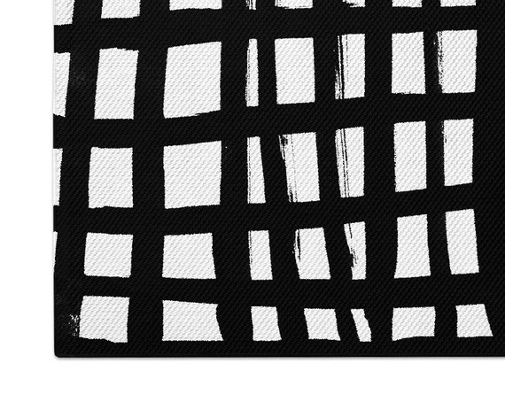 Black White Abstract Woven Nursery Rug Neutral Striped Flatweave Area Rug 2x3 3x5 4x6 5x7