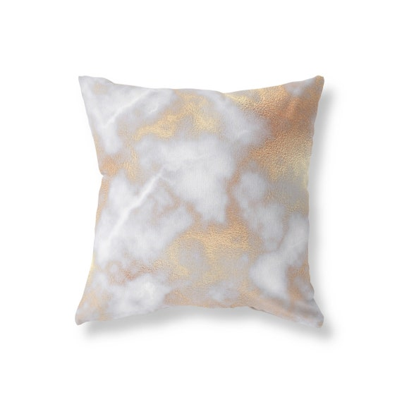 Rose Gold Marble Decorative Pillow Cover Abstract Pillow Etsy New Rose Gold Decorative Pillows
