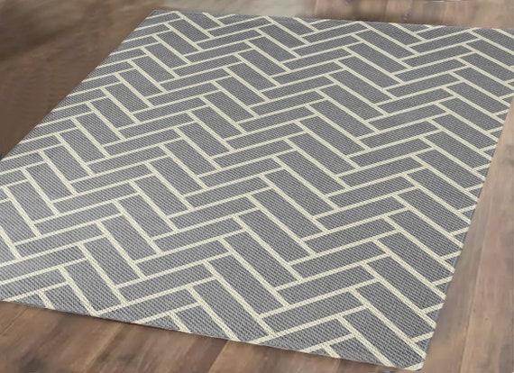 Gray Woven Herringbone Accent Rug, Geometric Living Room Rug, Scandinavian  Woven Area Rug, 2x3, 3x5, 4x6, 5x7