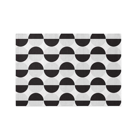 Black White Geometric Circles Area Rug Woven Living Room Rug Modern Nursery Accent Rug 2x3 3x5 4x6 5x7