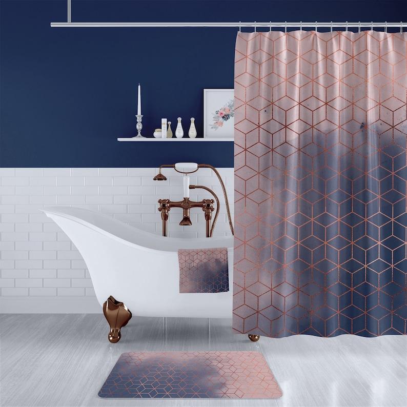 Admirable Blush Navy Copper Geometric Cube Bathroom Set Long Geometric Shower Curtain Bath Towel Bath Mat Complete Bathroom Decor Set Download Free Architecture Designs Scobabritishbridgeorg