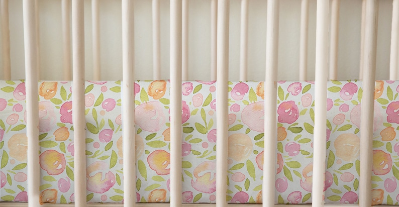 Orange Flower Print Baby Bedding Watercolor Floral Fitted Crib Sheets Modern Nursery Purple Standard Size 28x52