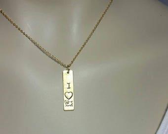 I love pig necklace, Custom Hand Stamped, pig necklace, piggy necklace