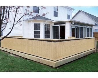 Custom Sized Privacy Screen -Patio Deck Balcony Pool Porch -Beige + Black Trim