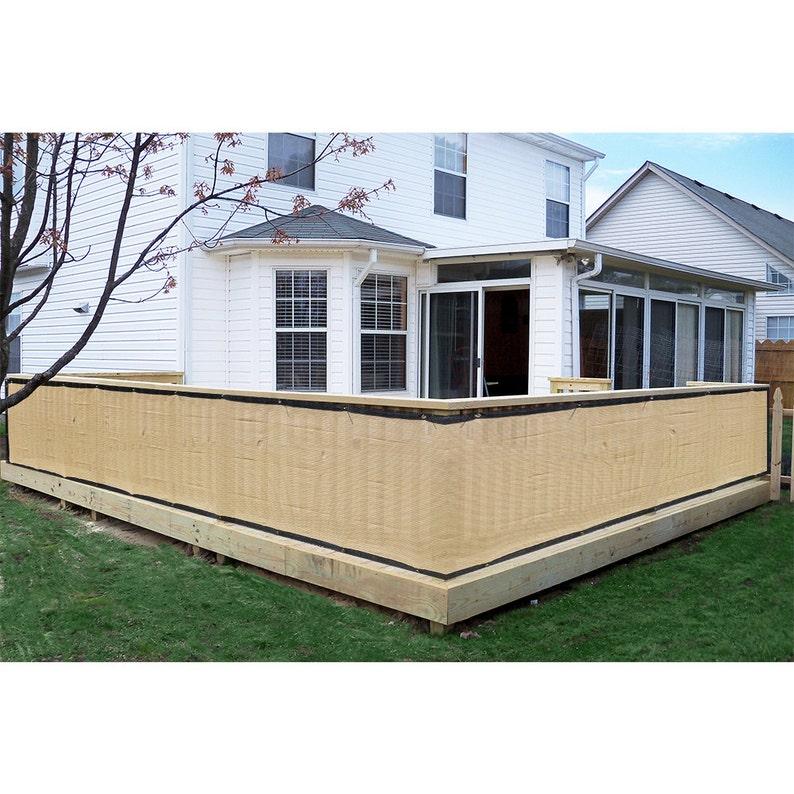 Custom Sized Privacy Screen  Patio Deck Balcony Pool Porch  Beige + Black  Trim