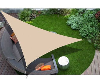 Custom Sized Right Triangle Sun Shade Sail with 6'' Stainless Steel hardware kit - Banha Beige