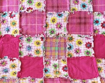 Ladybugs on Flowers with Pink Paid Patchwork Rag Quilt/Blanket/Throw Blanket