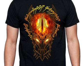 f5fa856c Sauron Eye Lord of the Rings Dark Lord Helmet Ring Fantasy Movie t-shirt  Gift for him For boyfriend Birthday Gift for brother Mens tshirt