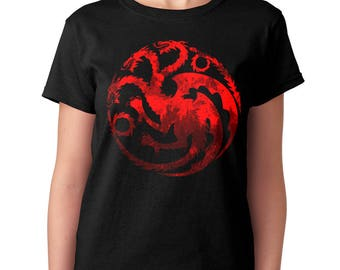 Targaryen t-shirt Game of Thrones Fire and Blood Dragons Symbol Daenerys Gift for her For girlfriend Birthday Gift for sister Womens t shirt