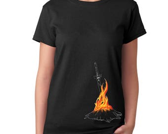 Dark Souls Bonfire t-shirt Sword Game t-shirt Game t shirt Gift for her For girlfriend Gift for geeks Womens tshirt Birthday Gift for sister