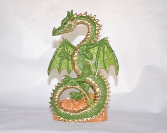 Green and Gold Ceramic Dragon Statue ~ Dancing Dragon