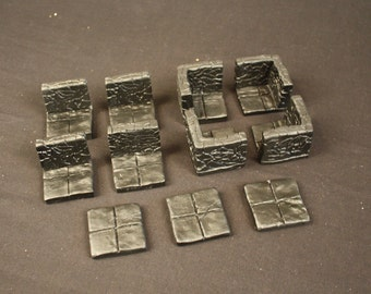 Room Corner Change Dungeon Magnetized Tile Set (Primed Black) with Hard Corners