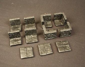 Room Corner Change Dungeon Magnetized Tile Set (Primed Black) with Hard Corners