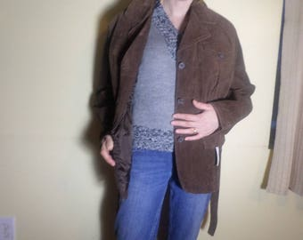 Brown Leather Trench Coat Short