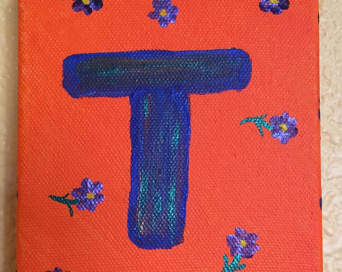Letter T Original Painting Funky Acrylic - Small 6 x4 inch wrapped canvas Tiny Art under 5 dollars