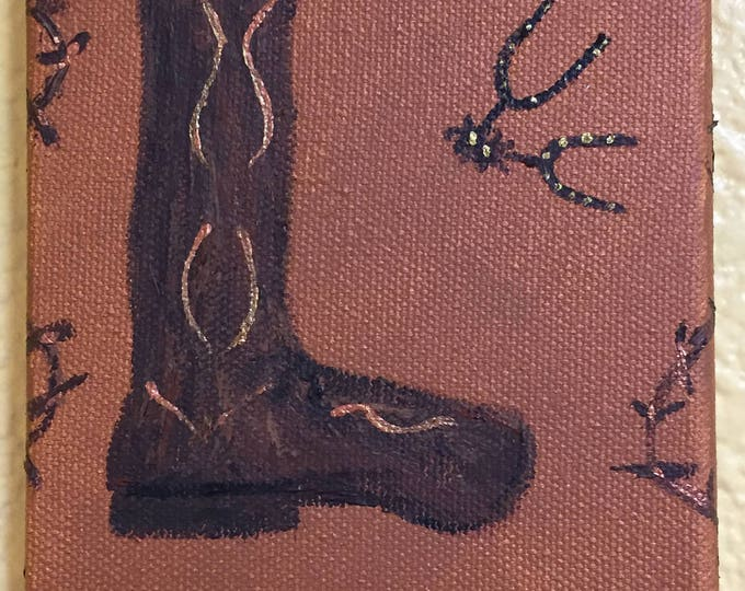 Boot L Painting - Acrylic Original Painting - Tiny Art Under 5 Dollar Gifts Western Art - Unframed Painted on All Sides