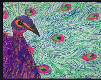 Peacock and Feathers Hand Embellished Orange Purple Neon Print 11x14 Silver Mat Digital Pen and Ink Recreation for 1980s Original Drawing
