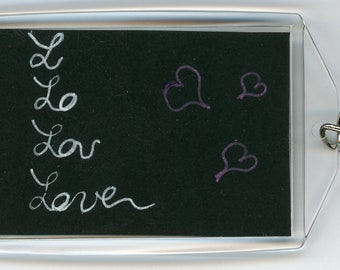 """Hand painted love times 4 key chain acrylic rectangle both sides are unique, but opposite on black paper 3.5"""" x 2.25"""" with sturdy ring"""