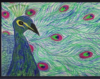 Peacock and feathers Hand Embellished Green Blue Neon Print 11x14 Matted Original Drawing Pen and Ink from 1980s digitally enhanced Gel Pens