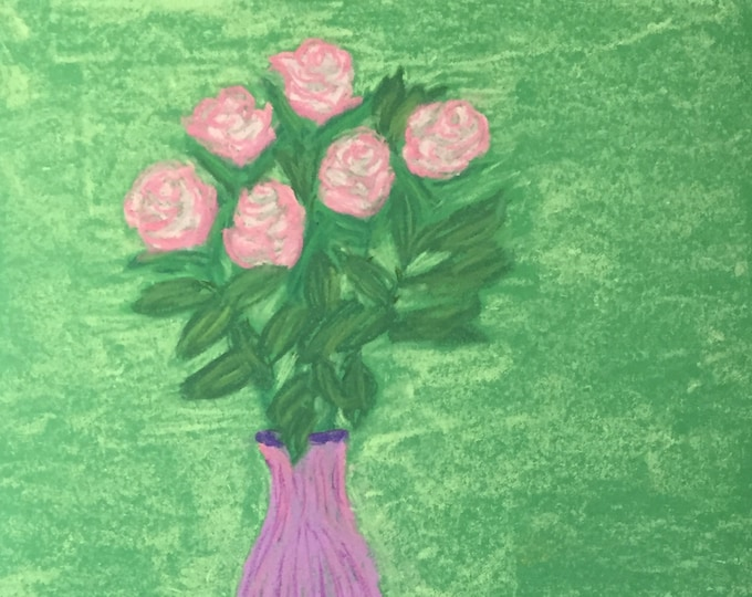 Roses - Pink Pastel Painting -Original in 11x14 black mat soft bright colors purple vase signed cheery romantic ready to frame not a print
