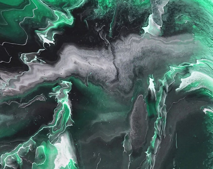 Emerald Lightning Series adaption from original LeClaire acrylic liquid fluid dirty pour painting new abstract marble art black white green